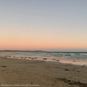 Warrnambool beach at sunset
