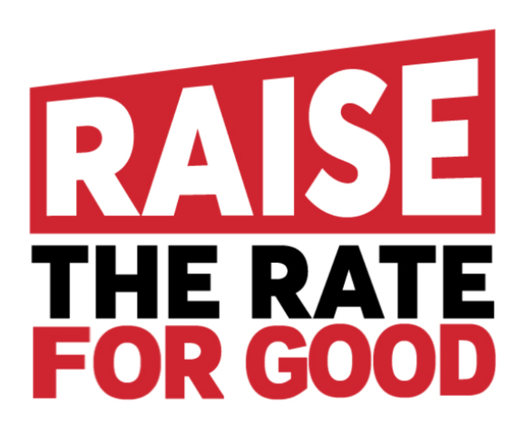 Logo text for Raise the Rate for Good campaign