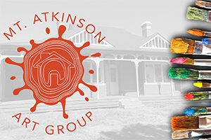 Mt Atkinson Community Art Group logo and paint brushes