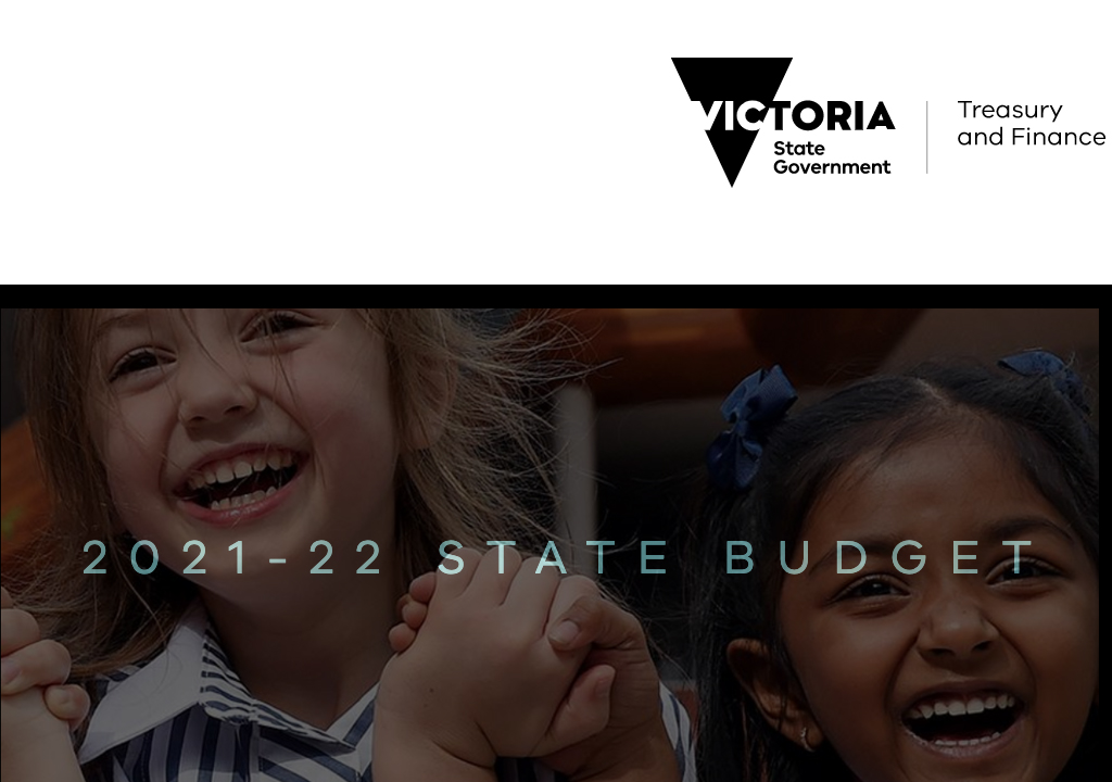 Cover of Victorian Budget document 2021-22