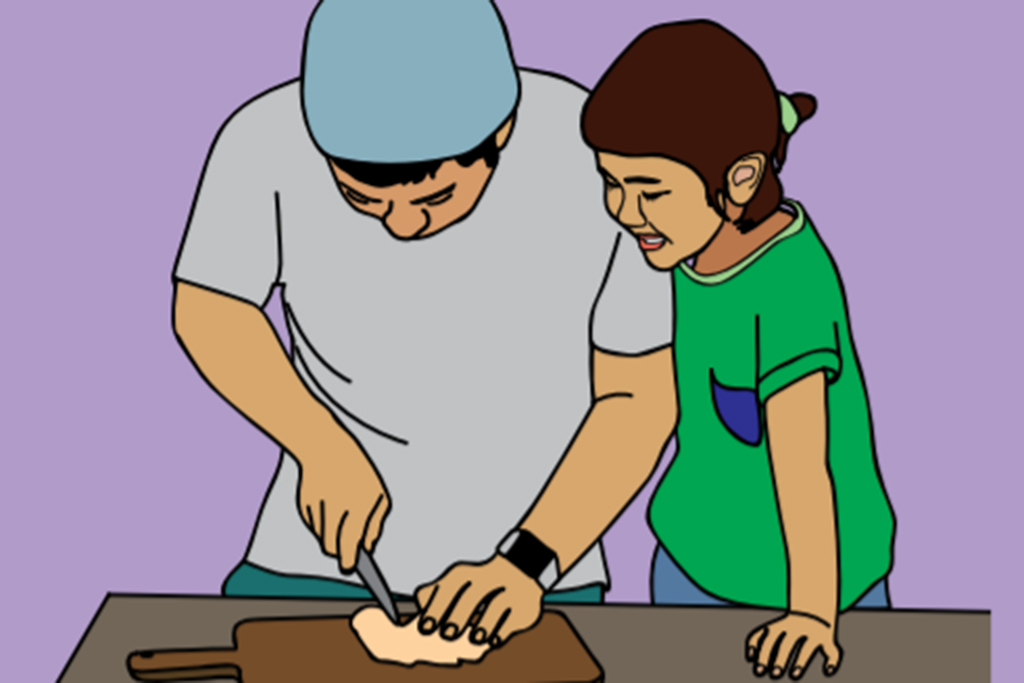 Cartoon image of man and his daughter