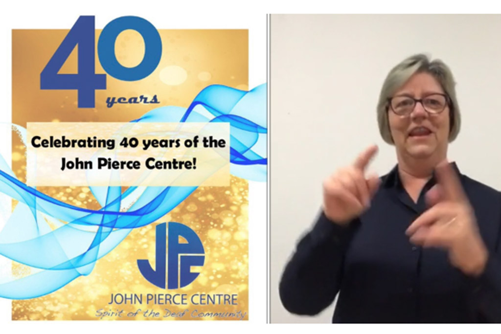 John Pierce Centre for Deaf logo and woman signing