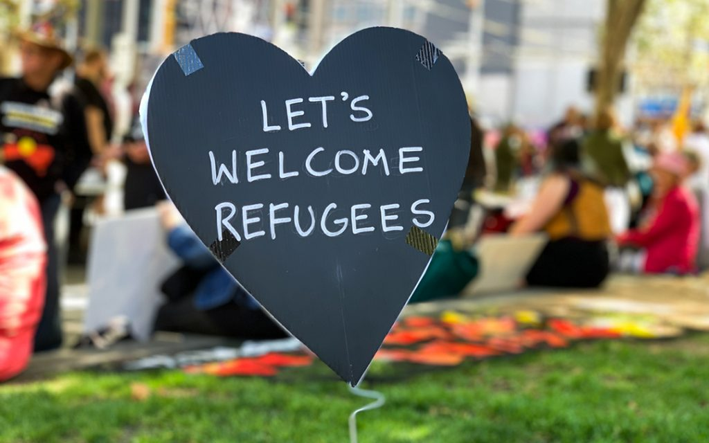 Let's Welcome Refugees written on heart
